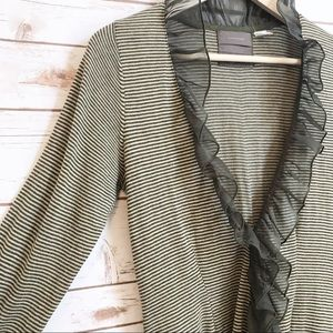 Anthropologie Guinevere Green Lace Trim Cardigan S